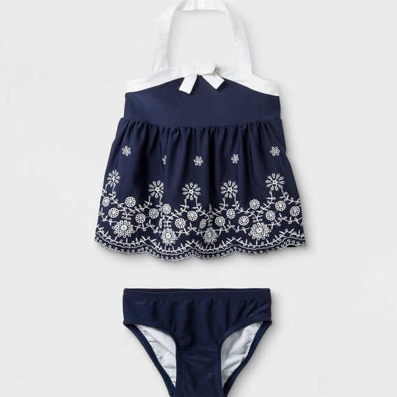 Cat & Jack Other - NEW 6-9 month swim suit 2pieve embroidered navy